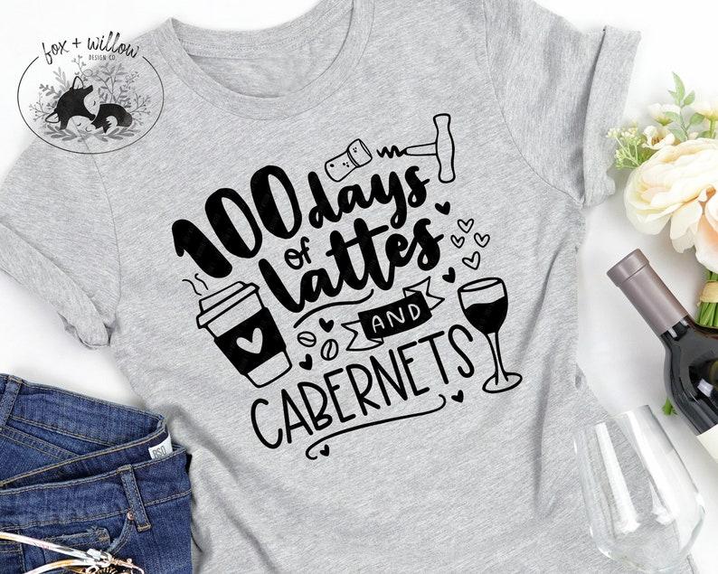 Funny Teachers 100 Days of School SVG  100 Days Coffee Lattes image 0