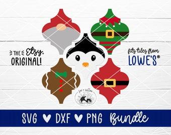 Tile Christmas Ornament SVG Bundle   Arabesque, Lantern Shape Tile Ornament   Santa, Elf, Gingerbread Man, Penguin, Gnome   svg dxf png