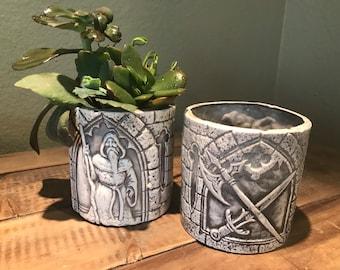 Wizard fantasy planter, handmade with drainage