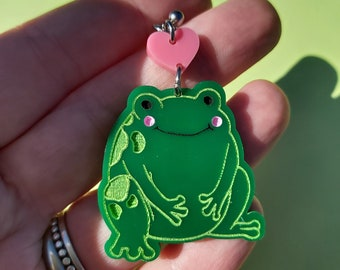 Pink Star Frog Earring
