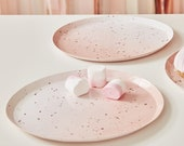 Ombre Pink Watercolour Speckle Rose Gold Paper Plates - hen party - engagement - baby shower - birthday party - party home - rose gold theme