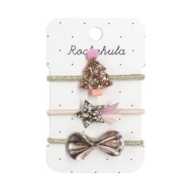Gifts For Girls Rose Gold Christmas Tree Ponies Christmas Hair Ties Stocking Filler
