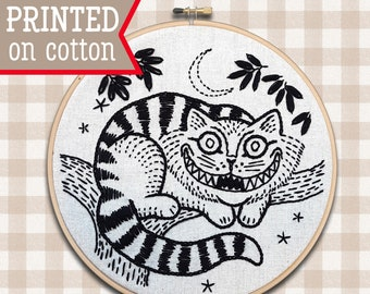Cheshire Cat Embroidery Kit ;  DIY craft kit ; Pre printed hand embroidery pattern ; 7 inch Hoop Art ; Cat Lovers Gift ; Halloween Black Cat