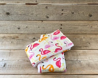 New Baby Gift Personalized Burp Cloth Set Flamingo- Embroidered Flamingo Burp Cloth Set Girl Burp Cloth Gift Set