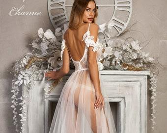 Boudoir wedding dress,Bridal peignoir,Tulle wedding dress,Bridal lingerie,Boudoir gown,Sheer wedding robe,Lace bridal robe,Bridal tulle robe