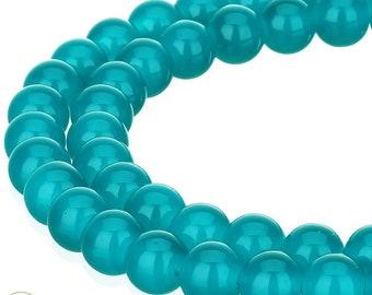 Spray Painted Imitation Jade Round 6mm Glass Beads Qty 50 Beads Blue