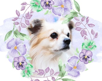 Custom Floral Border Print Of Your Dog - Digital Download / Print