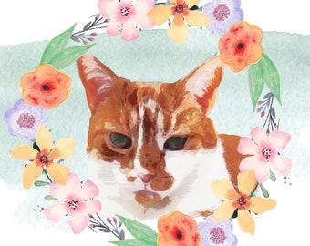 Custom Floral Border Print Of Your Cat - Digital Download / Print
