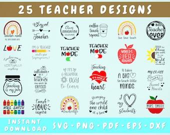 Teacher SVG Bundle, 25 Designs, Teacher Cut Files for Cricut, Silhouette, Teacher Quote Svg, Teacher Life SVG, Teacher Stencil SVG