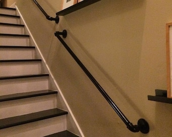 Stair Hand Rail / BANISTER with brackets - VINTAGE from INDUSTRIAL pipe fittings