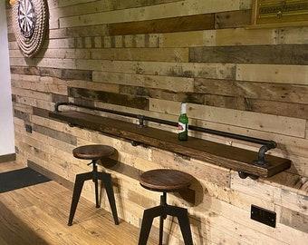 INDUSTRIAL Style BREAKFAST/DRINKS Bar | Industrial Pipe Fittings | Vintage Style Bar