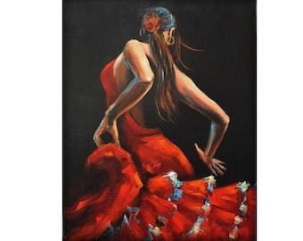 Flamenco Dancer Wall Art Spanish Flamenco Dance Painting Canvas Wall Art Decor Home Decor Spain Flamence Print Flamenco Dancer Art