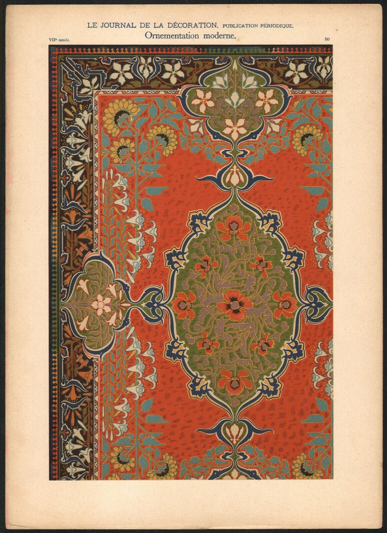 1900 Lithography Art Nouveau Modern Ornament