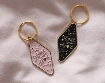 Home is where the heart is keyring, new home keychain, moving in gift.