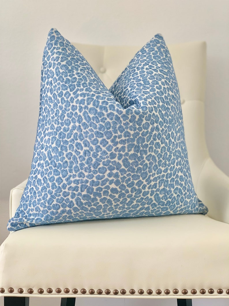 Decorative Blue cheetah leopard print  throw pillow cover living room accent pillow