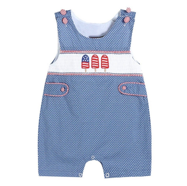 Patriot Popsicles Red White and Blue Shortall Memorial Day Outfit 4th of July Outfit