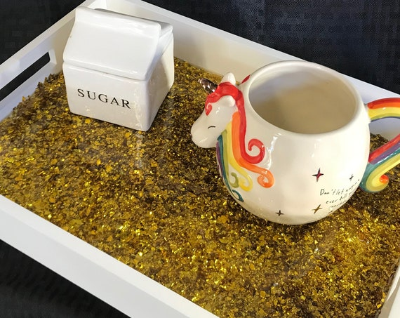 Gold Confetti Resin Coffee Tray
