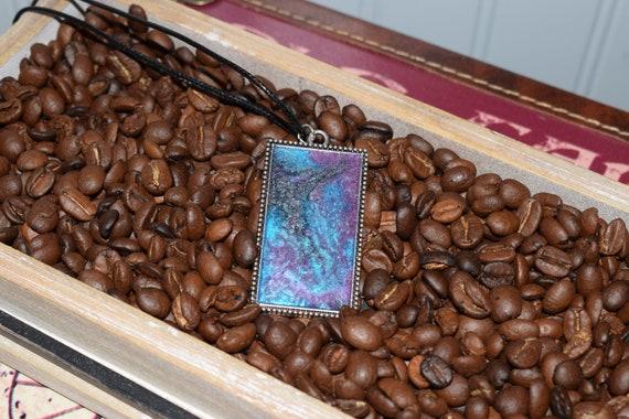 Marbled Purple, Aqua & Black Pendant