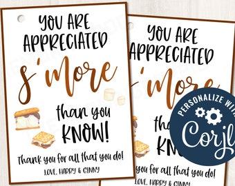 Printable/EDITABLE You are Appreciated Smore than You Know Marshmallow Gift Tag for Teacher PTO Employee Nurse Staff Teams, CORJL Template