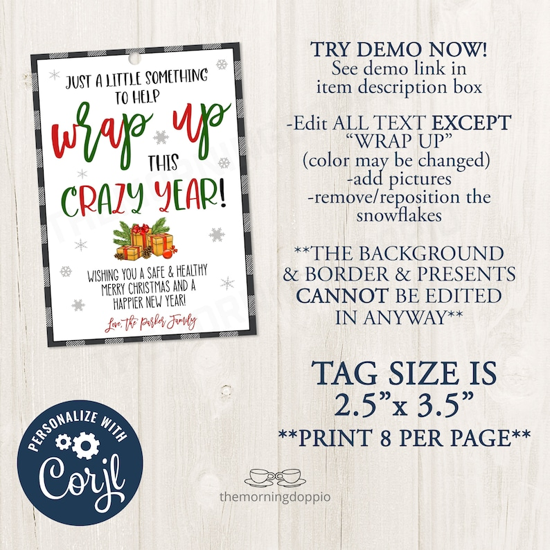 Editable CORJL Template PrintableEDITABLE Just a little something to help wrap up this crazy year Christmas Gift Tag Holiday Gift Ideas