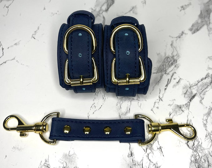 Blue Leather & Gold  Handcuffs