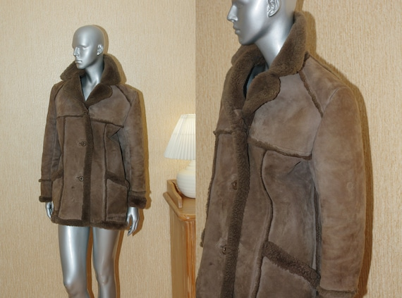 Real sheepskin by neway size M-L.Vintage 70s Brown