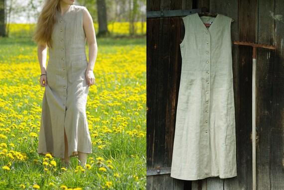 Natural linen dress EU size 40, Vintage linen dres