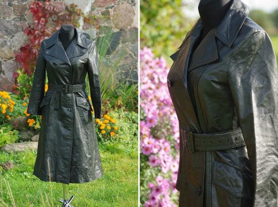 Vintage 70s leather coat,Black Leather Coat Vintag