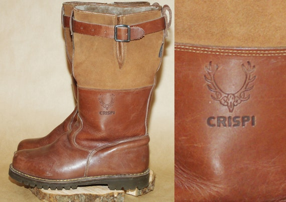 Vintage large brown long leather winter boots size