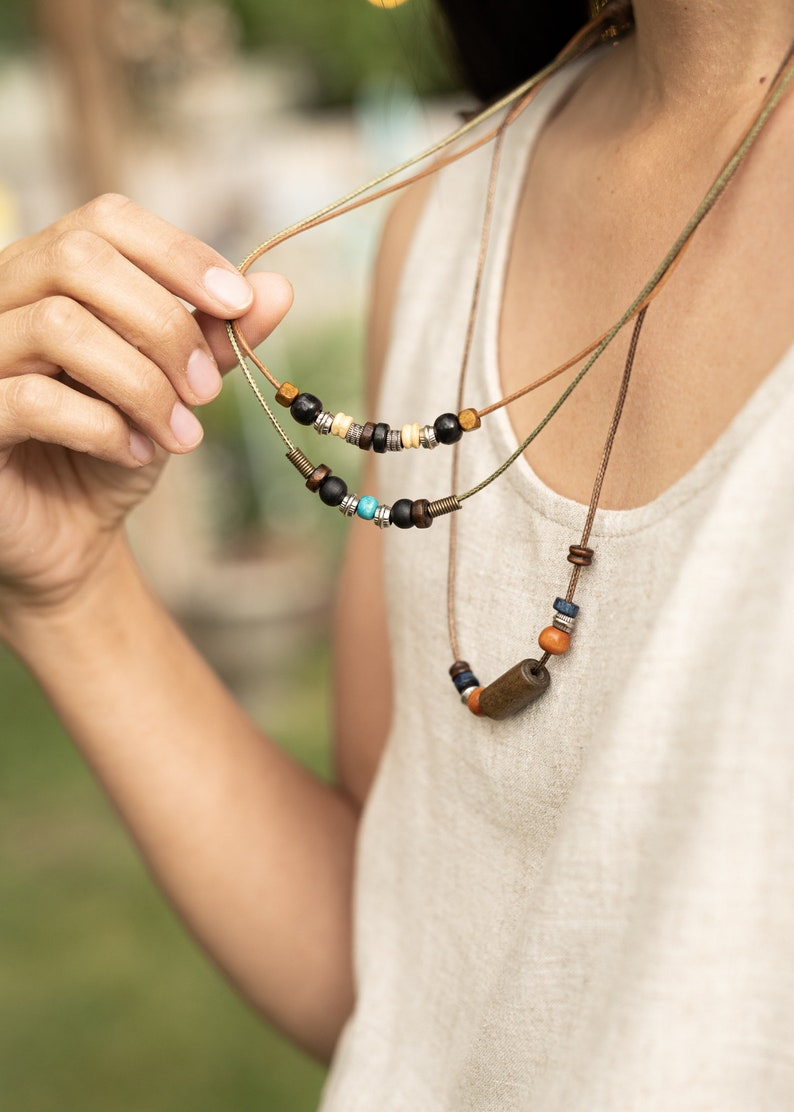 Hippy Necklace Sparrow Wood /& Beads Multiple Stranded Hippie Charm Necklace