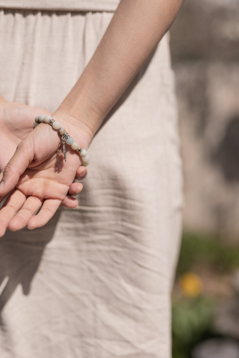Celeste Buddha Hand White /& Blue Round Natural Stone Supernatural Jewelry Anxiety Bracelet Stone Wrap