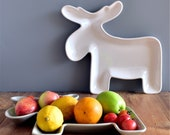 Fawn Shaped Plate Party Snack Pastry Shaped Nordic Style Simple Minimalism Concise Modern Stylish White Fruit Vegetables Bowl Display Basket