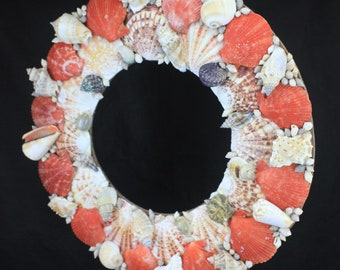 Seashell Wreath w/ Colorful Scallop Shells