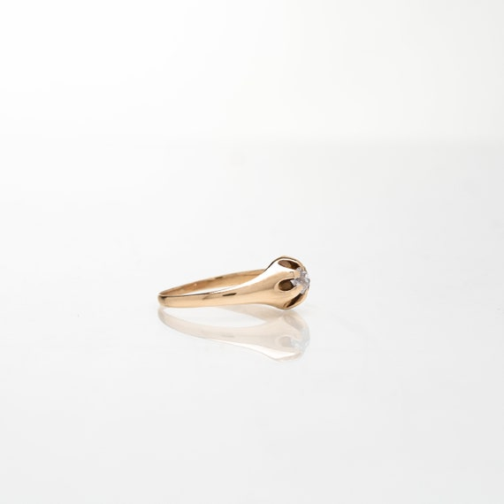 Diamond Solitaire Belcher Ring in 14K Yellow Gold… - image 2