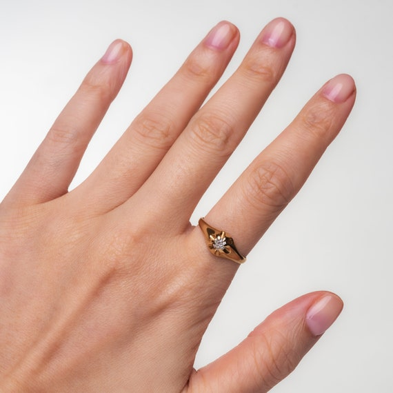 Diamond Solitaire Belcher Ring in 14K Yellow Gold… - image 5