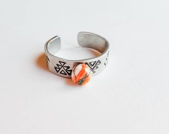 Gifts Western Jewelry Boss Lady Twist Ring Aluminum Ring Stamped Ring Handmade Ring Steer Skull Ring Cowgirl