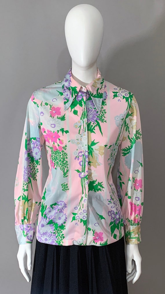1970s Women's Floral Blouse with Bishop Sleeves