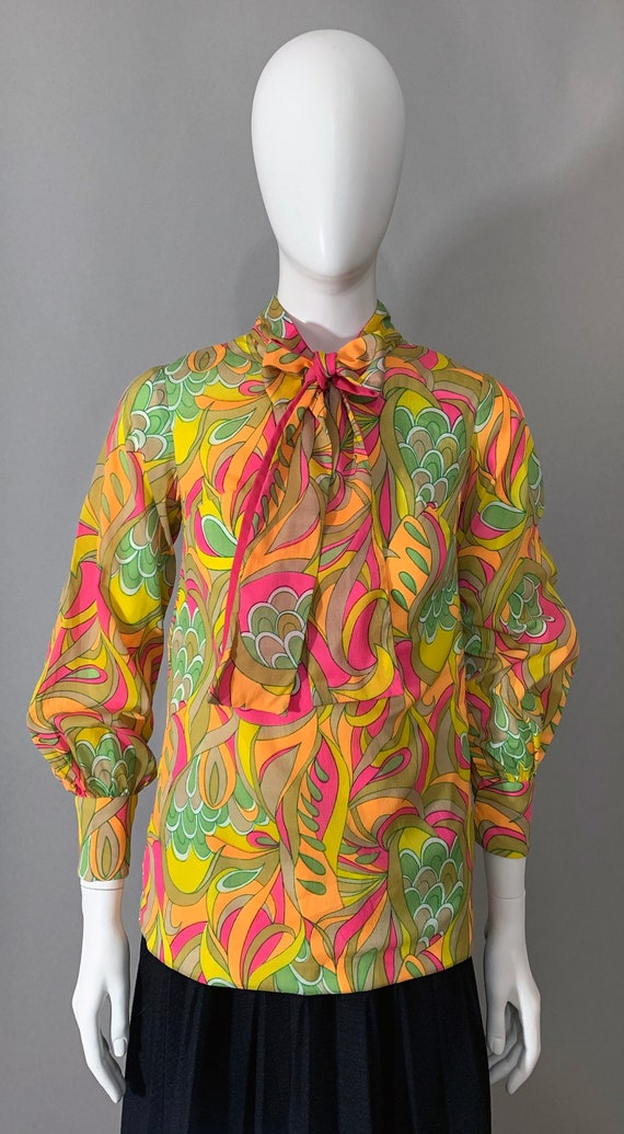 1960s Women's Psychedelic Multicolor Blouse with J