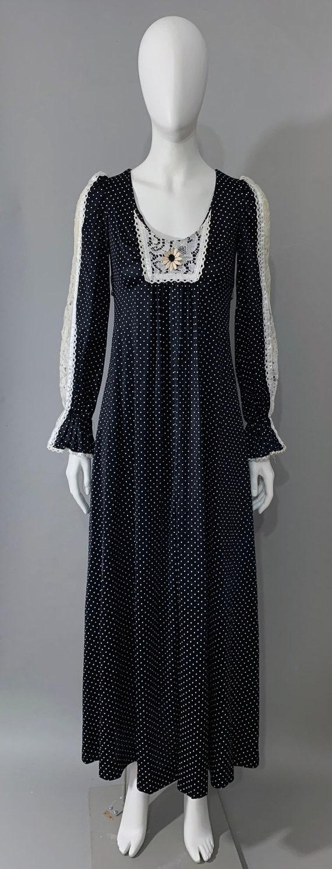 1970s Women's Black Polka Dot Prairie Dress with L