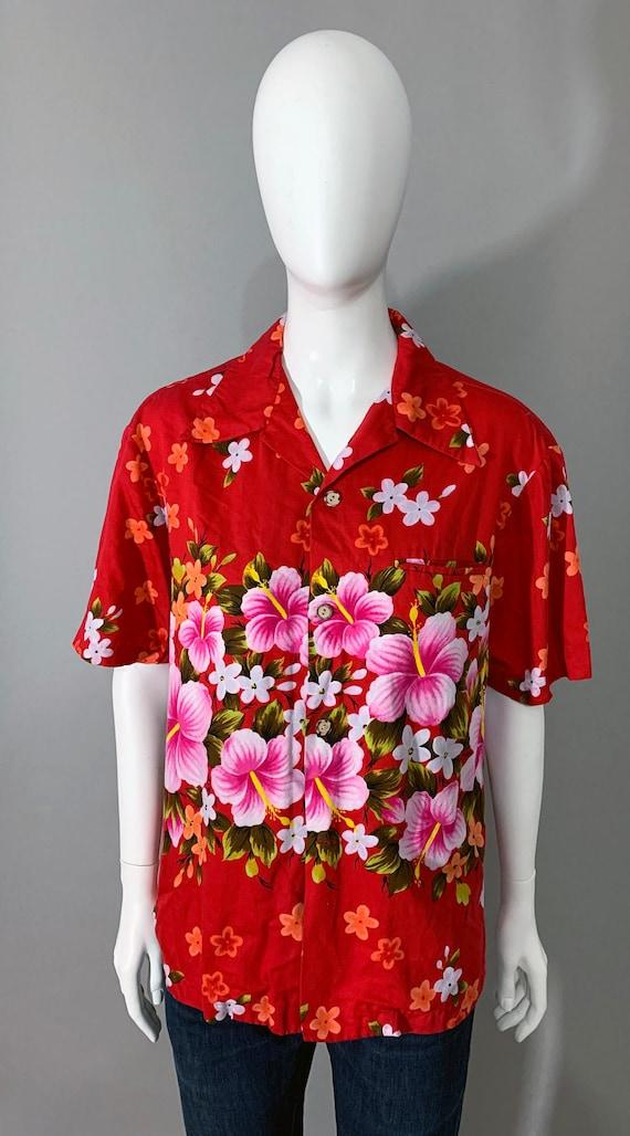 "1960s ""Ui-Makai Hawaii"" Mens Short Sleeve Floral S"