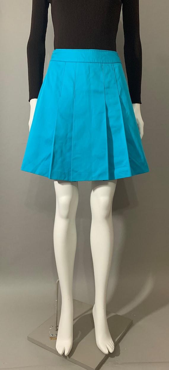 1960s Women's Blue Pleated Mini Skirt