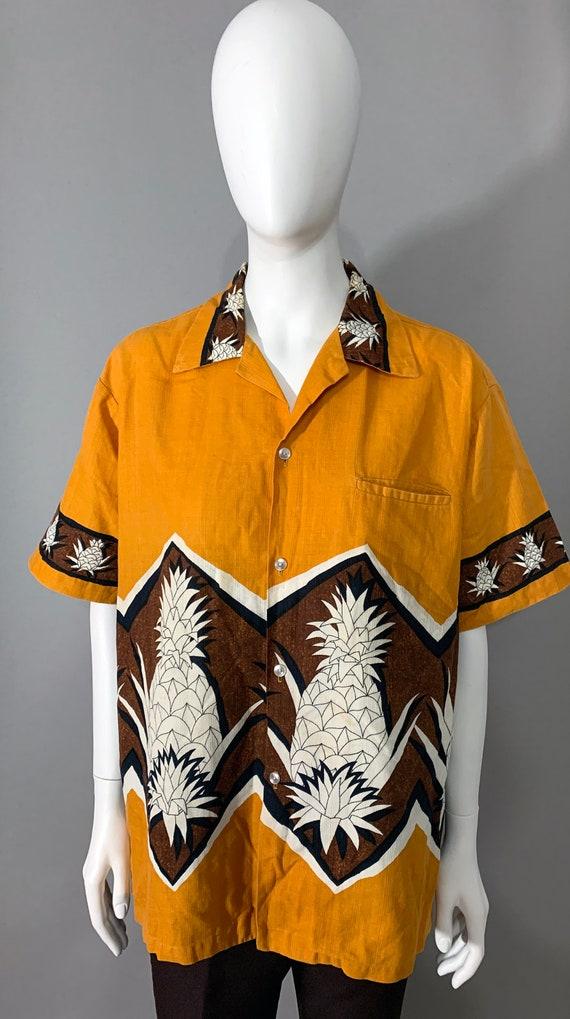 "1960s ""Tropicana"" Hawaii Mens Shirt Pineapple Prin"