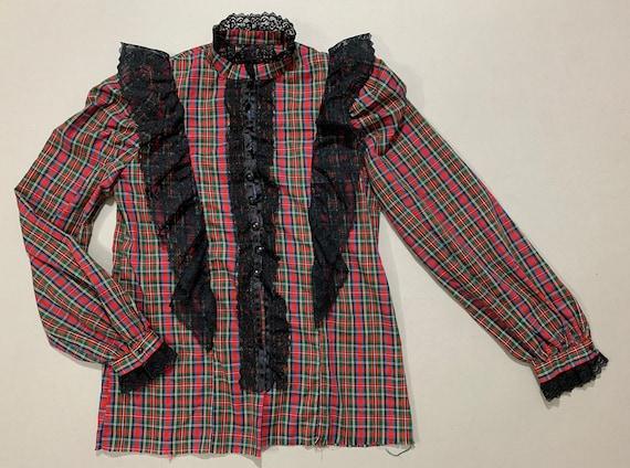 1970s Women's Plaid & Lace Prairie Blouse - image 3