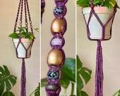 Mulberry Queen - mulberry gold flecked macrame hanger, w snowflake obsidian, rose quartz, and titanium hematite beads