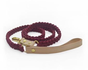 Dog leash ETHNO Leatherleash Hippie Macrame Leather Strap