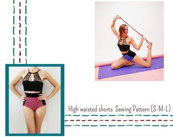 High waisted Booty shorts Sewing Pattern for women, Lingerie pattern, Panties,Brief, Bikini bottom,Exotic Pole dancewear,vintage lingerie