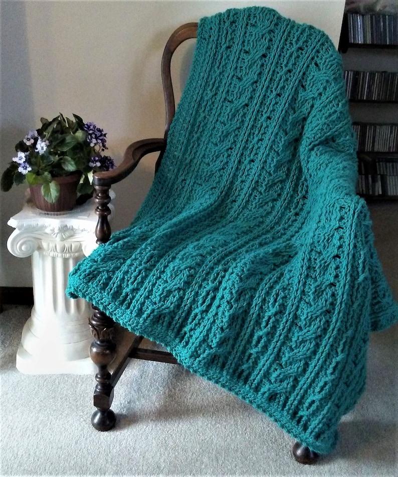 Crochet Blanket Pattern Calming Cables Blanket Bliss image 0