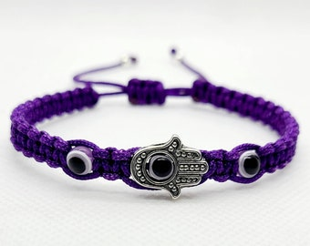 Yellow String Pulsera Mal De Ojo Nazar Handmade Jewelry Purple Evil Eye Adult Rosary Bracelet \u2022 Protection Good Luck Charm