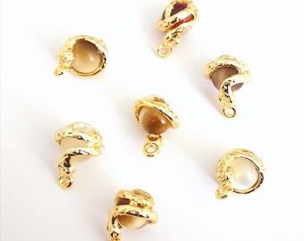 24Kt Gold Plated Snake 10mm Cat Eye Stone Pendant