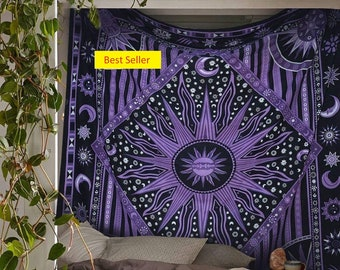 Wall Tapestry Tie dye Purple tapestry Star Tapestry Mandala Wall Hanging Tapestry Throw Bedspread Indain Tapestry Sun Tie dye Wall Tapestry